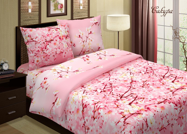 Комплект Сакура Розовый, размер 2,0-спальный с европростынейПоплин<br>Плотность ткани: 118 г/кв. м <br>Пододеяльник: 215х175 см - 1 шт. <br>Простыня: 220х240 см - 1 шт. <br>Наволочка: 70х70 см - 2 шт.<br><br>Тип: КПБ<br>Размер: 2,0-сп. евро<br>Материал: Поплин