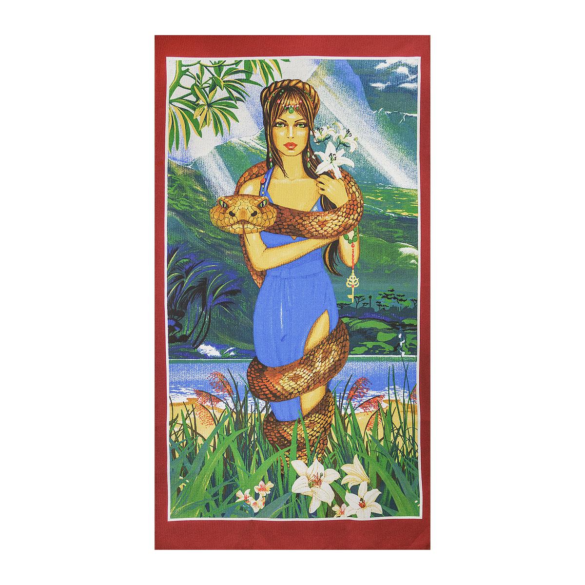 Вафельное полотенце Девушка со змеей, размер 75х150 см.Вафельные полотенца<br><br><br>Тип: Вафельное полотенце<br>Размер: 75х150<br>Материал: Вафельное полотно