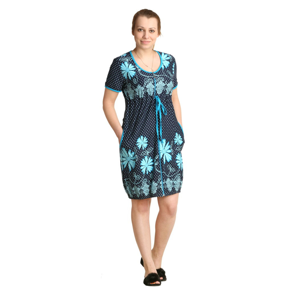 Женский халат «Фаина» бирюзовый, размер 42Халаты<br>Обхват груди:84 см<br>Обхват талии:65 см<br>Обхват бедер:92 см<br>Длина по спинке:93 см<br>Рост:164-170 см<br><br>Тип: Жен. халат<br>Размер: 42<br>Материал: Кулирка