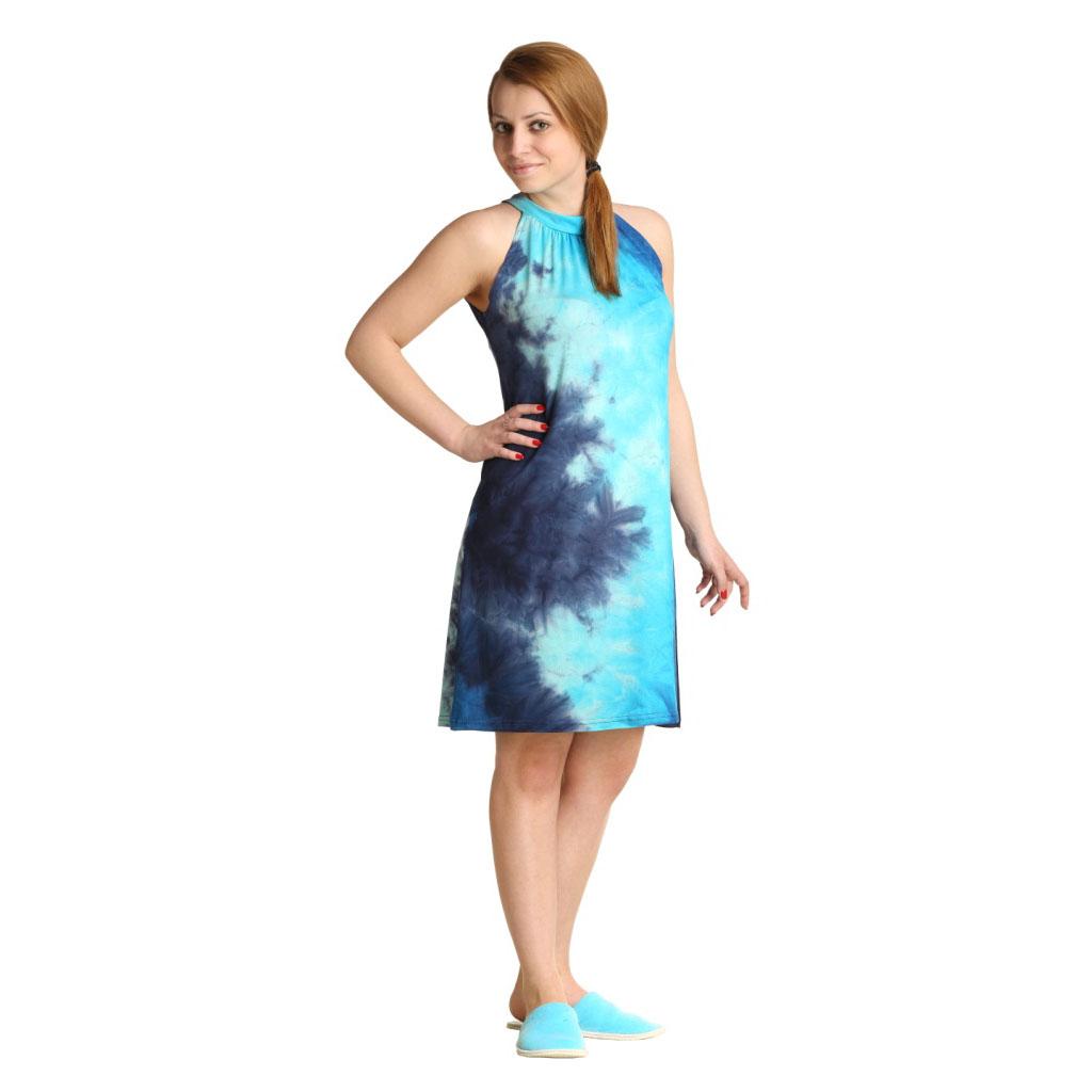Женское платье Стелара Голубой, размер 46Платья, туники<br>Обхват груди:92 см<br>Обхват талии:73 см<br>Обхват бедер:100 см<br>Длина по спинке:89 см<br>Рост:164-170 см<br><br>Тип: Жен. платье<br>Размер: 46<br>Материал: Вискоза