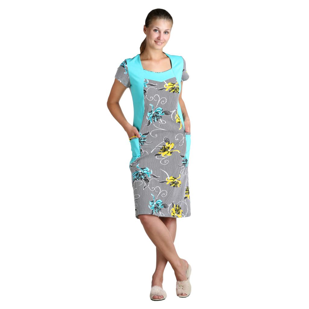 Женское платье Пиона Бирюзовый, размер 64Платья, туники<br>Обхват груди:128 см<br>Обхват талии:120 см<br>Обхват бедер:136 см<br>Длина по спинке:107.9 см<br>Рост:164-170 см<br><br>Тип: Жен. платье<br>Размер: 64<br>Материал: Кулирка