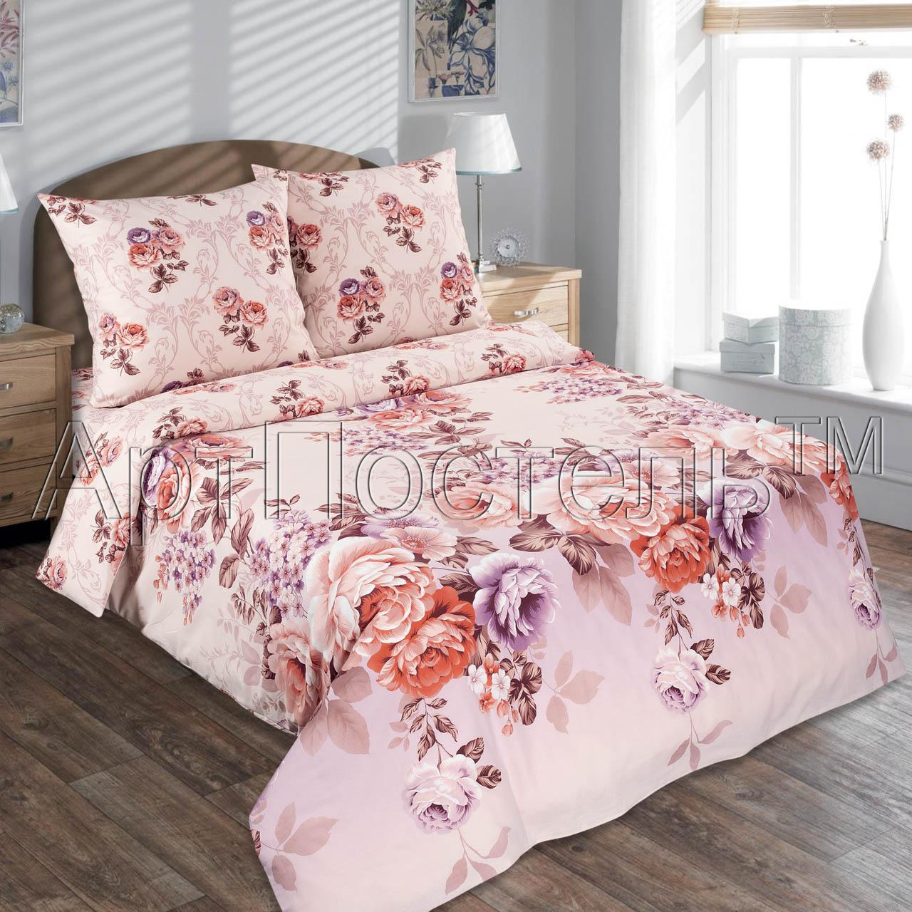 Комплект Карамельная роза, размер 2,0-спальный с европростынейПоплин<br>Плотность ткани: 115 г/кв. м <br>Пододеяльник: 217х175 см - 1 шт. <br>Простыня: 220х240 см - 1 шт. <br>Наволочка: 70х70 см - 2 шт.<br><br>Тип: КПБ<br>Размер: 2,0-сп. евро<br>Материал: Поплин