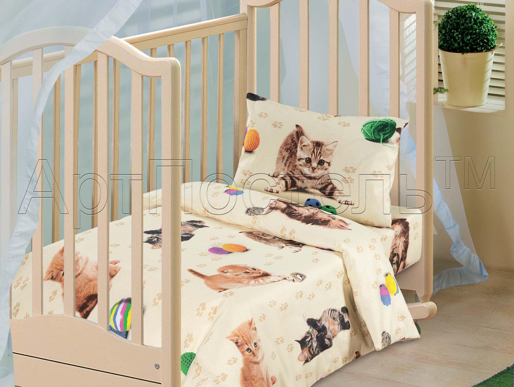 Детский комплект  Усатый-полосатый , размер Ясельный - Постельное белье артикул: 7810