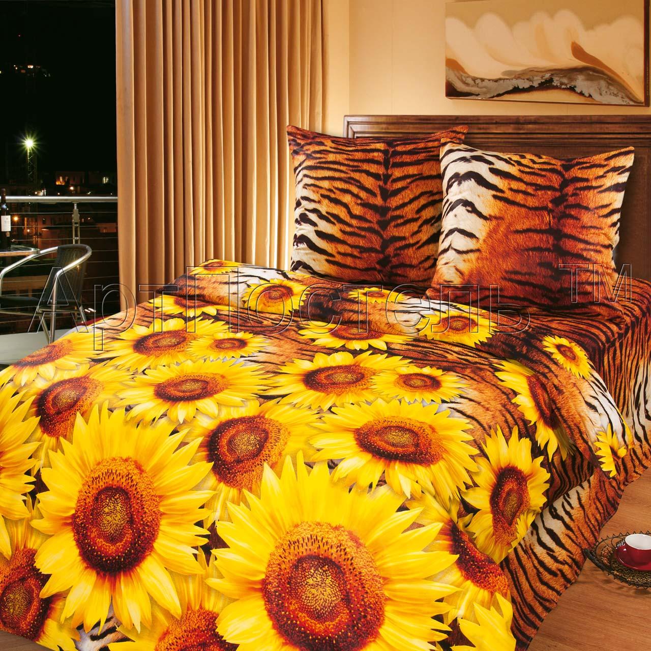 Бязевый 1,5 спальный комплект «Жаркое лето», размер 1,5 сп. искусственный шелк постельное белье
