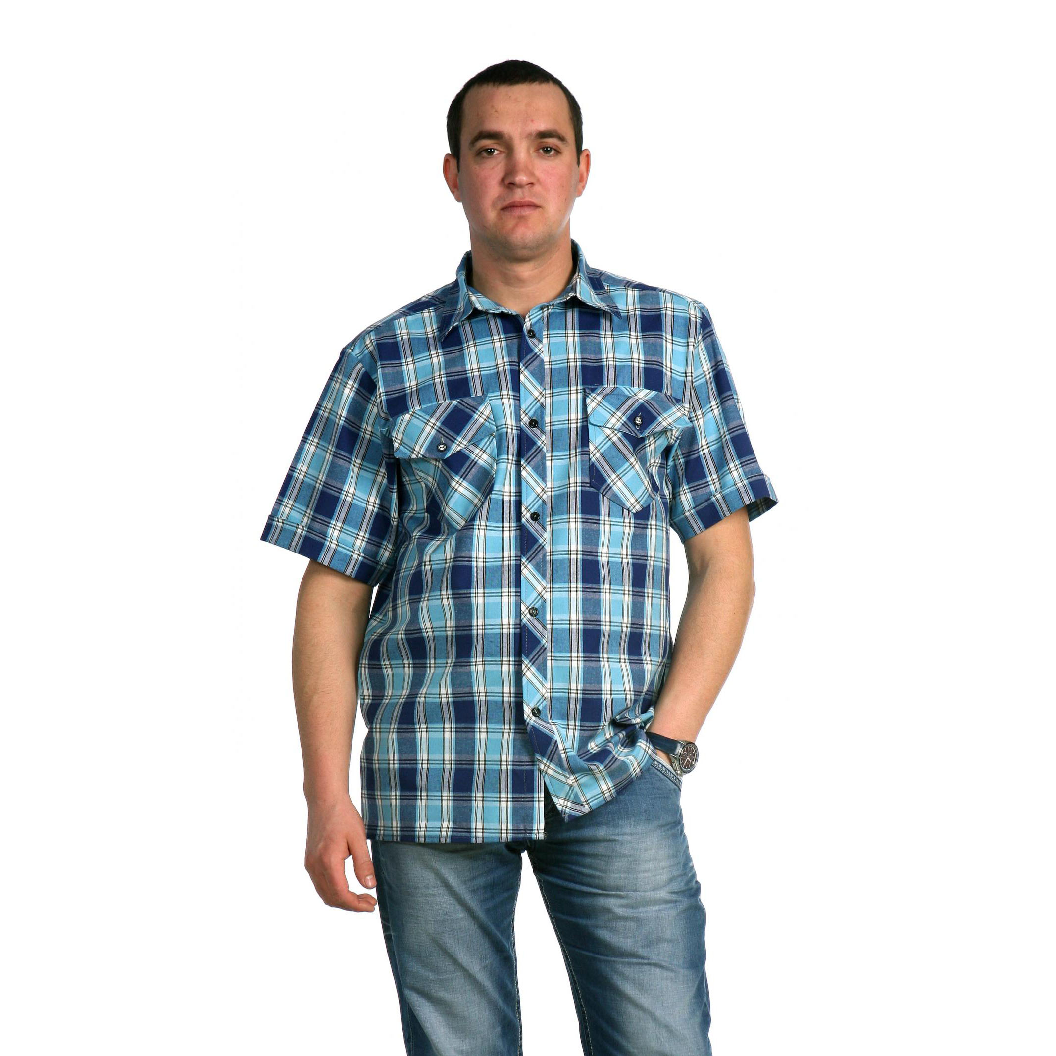 Мужская рубашка «Аллан» арт. 0013, размер 50Толстовки, джемпера и рубашки<br>Обхват груди:100 см<br>Обхват талии:92 см<br>Обхват бедер:106 см<br>Обхват шеи, ворот:41 см<br>Рост:176-182 см<br><br>Тип: Муж. рубашка<br>Размер: 50<br>Материал: Шотландка