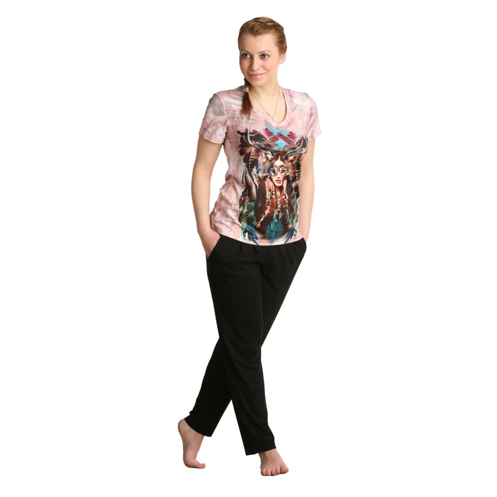 Женская футболка Индиана Розовый, размер 42Блузки, майки, кофты<br>Обхват груди:84 см<br>Обхват талии:65 см<br>Обхват бедер:92 см<br>Длина по спинке:61.5 см<br>Рост:164-170 см<br><br>Тип: Жен. футболка<br>Размер: 42<br>Материал: Полиэстер