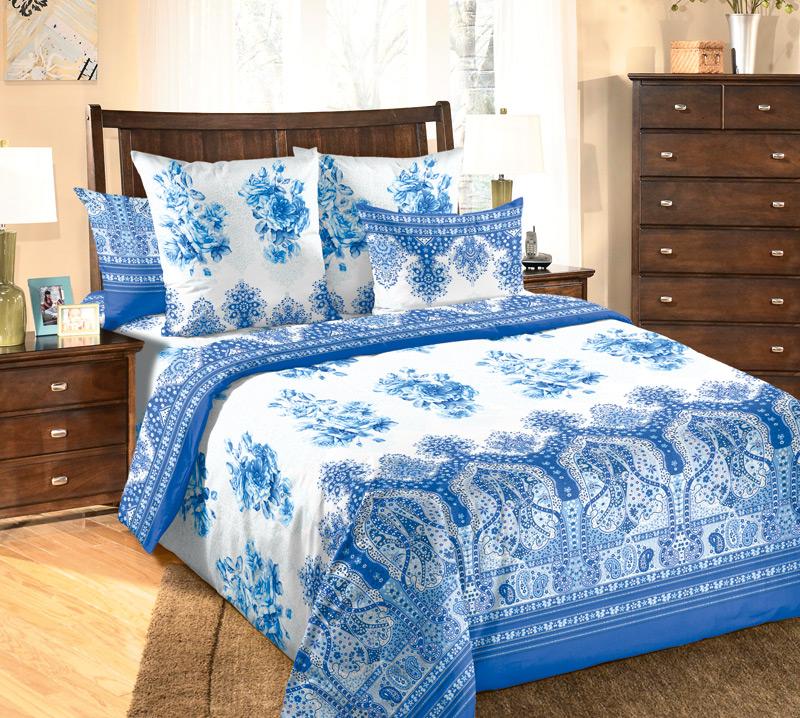 КПБ  Гжель  Синий, размер 2,0-спальный с европростыней - Акции и скидки артикул: 8543