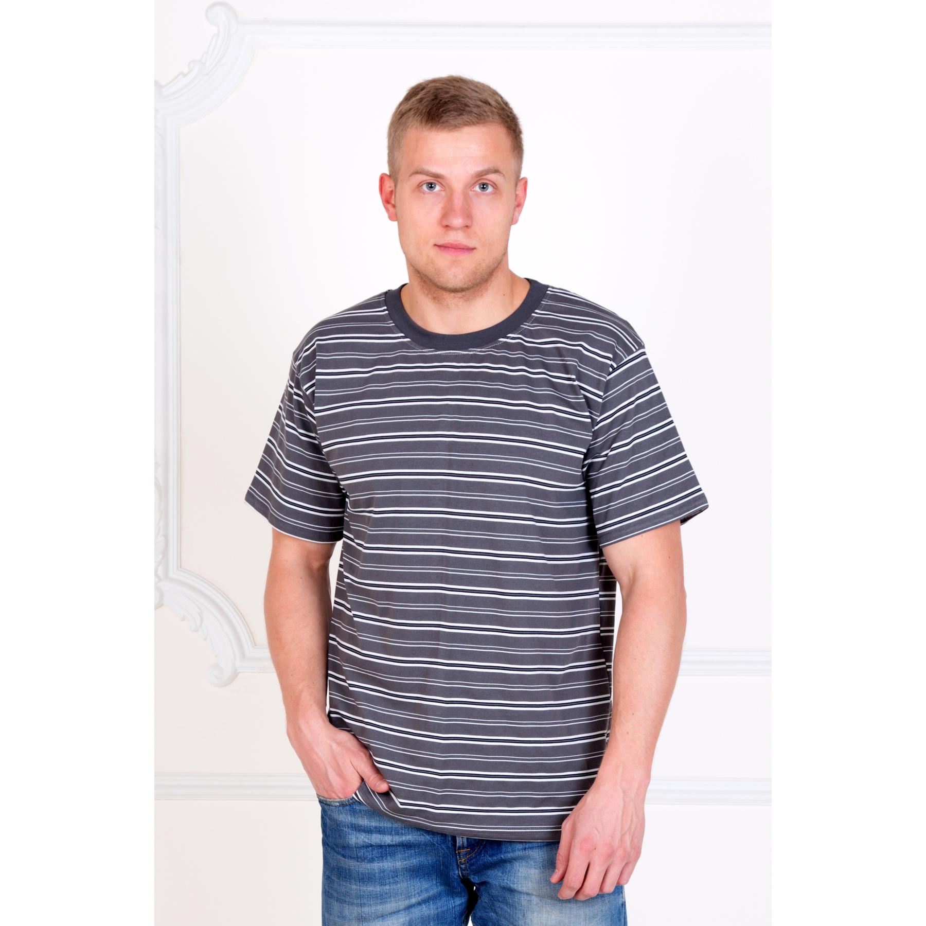 """Мужская футболка """"Полосы"""" Серый, размер 46 Лика Дресс"""