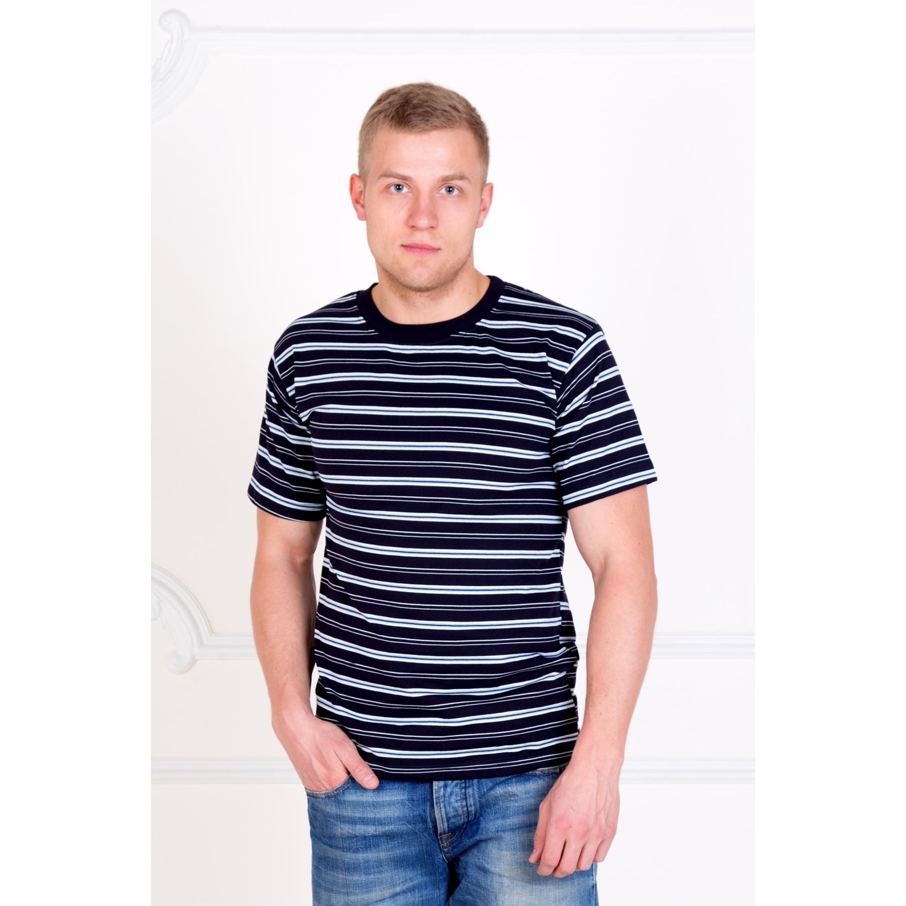 """Мужская футболка """"Полосы"""" Синий, размер 46 Лика Дресс"""