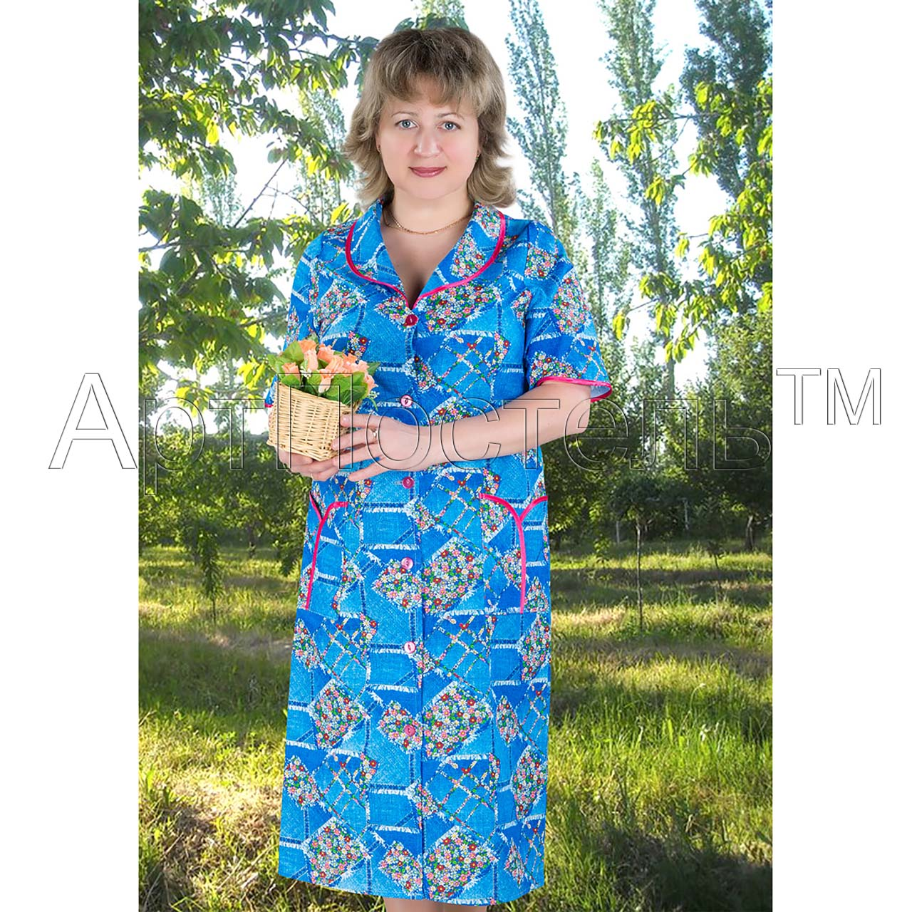 Женский халат Американка на пуговицах, размер 46Распродажа<br>Обхват груди:92 см<br>Обхват талии:73 см<br>Обхват бедер:100 см<br>Рост:164-170 см<br><br>Тип: Жен. халат<br>Размер: 46<br>Материал: Бязь