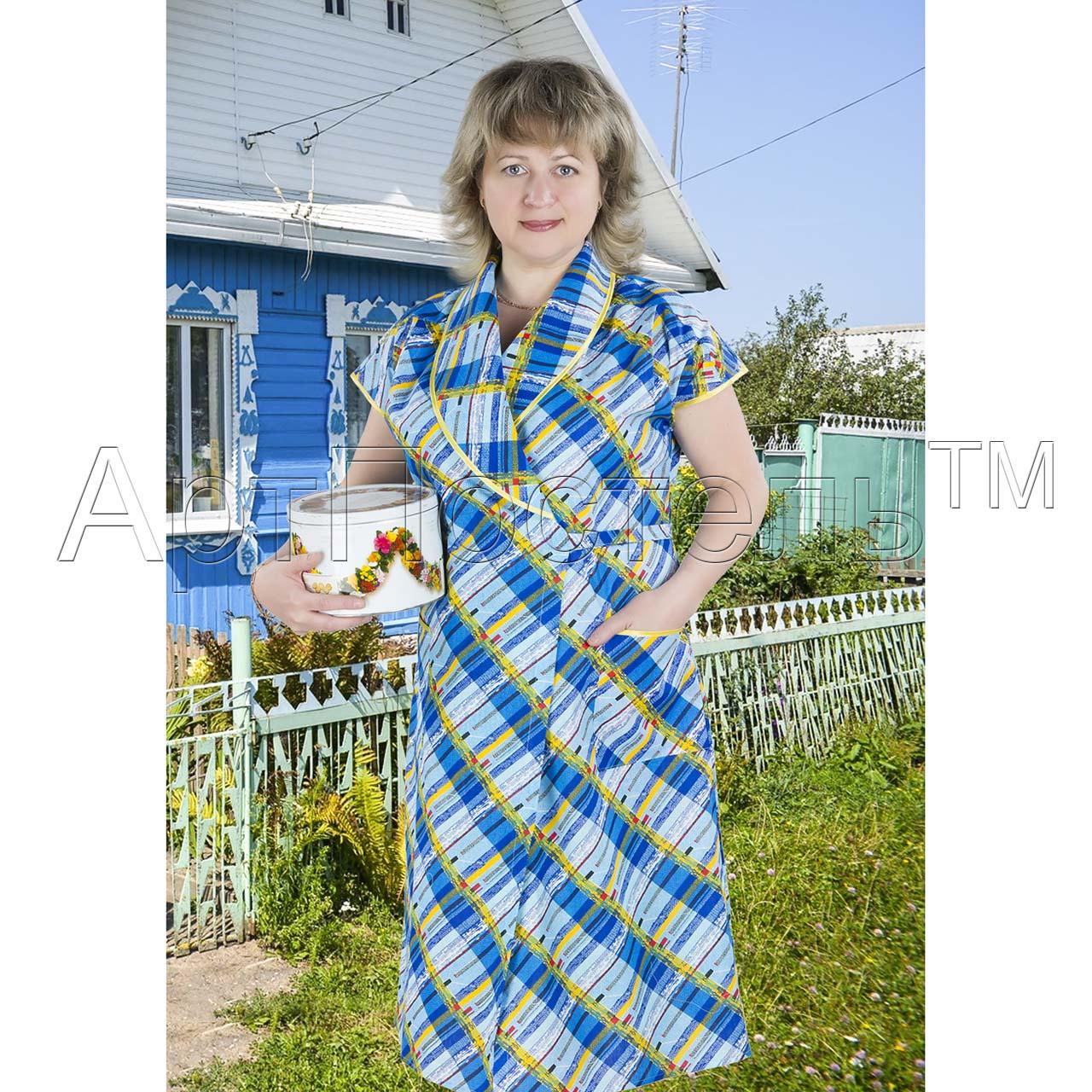 Женский халат Арлекин запашной, размер 52Халаты<br>Обхват груди:104 см<br>Обхват талии:86 см<br>Обхват бедер:112 см<br>Рост:164-170 см<br><br>Тип: Жен. халат<br>Размер: 52<br>Материал: Бязь
