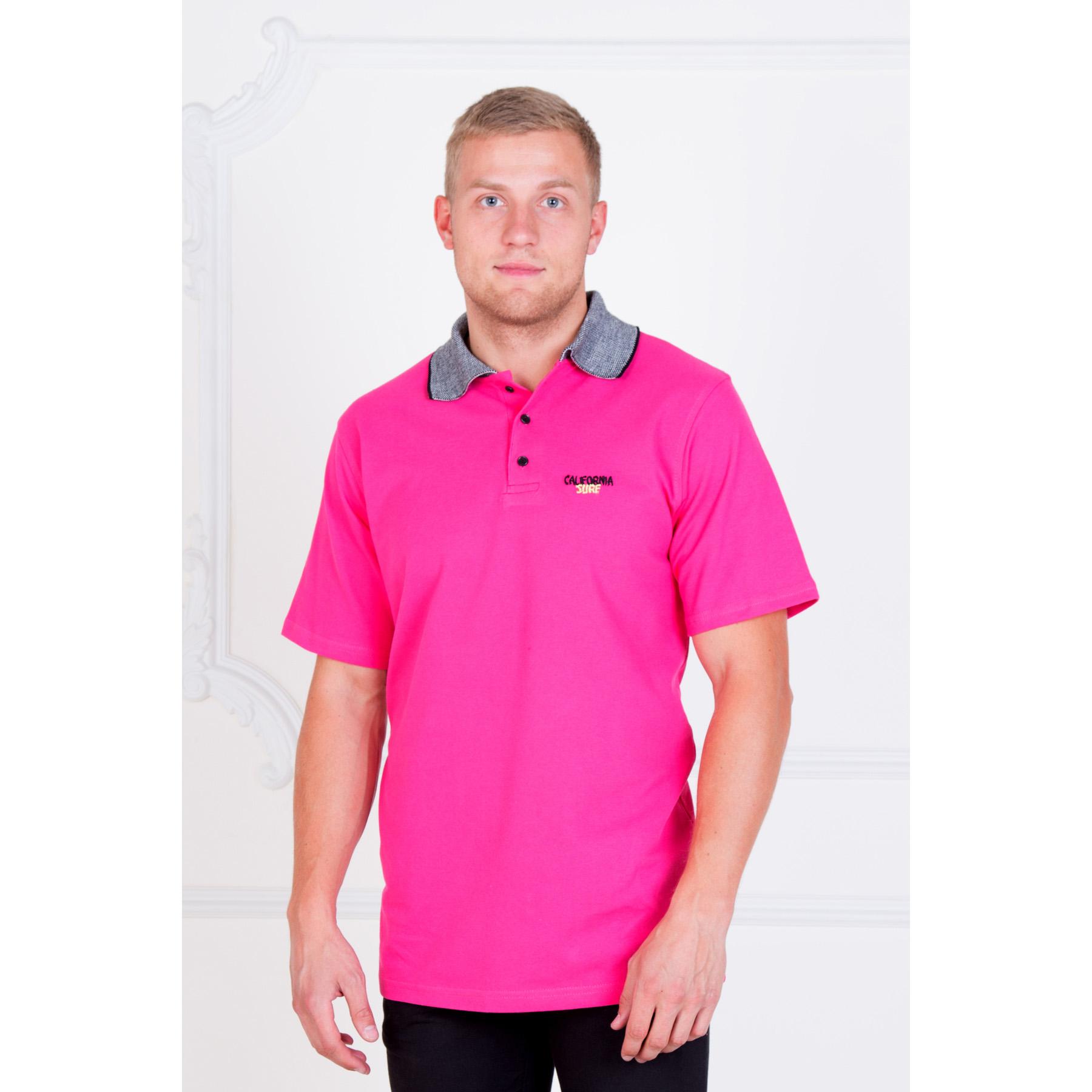 Мужская футболка-поло  California Surf  Малиновый, размер 46 - Мужская одежда артикул: 16471