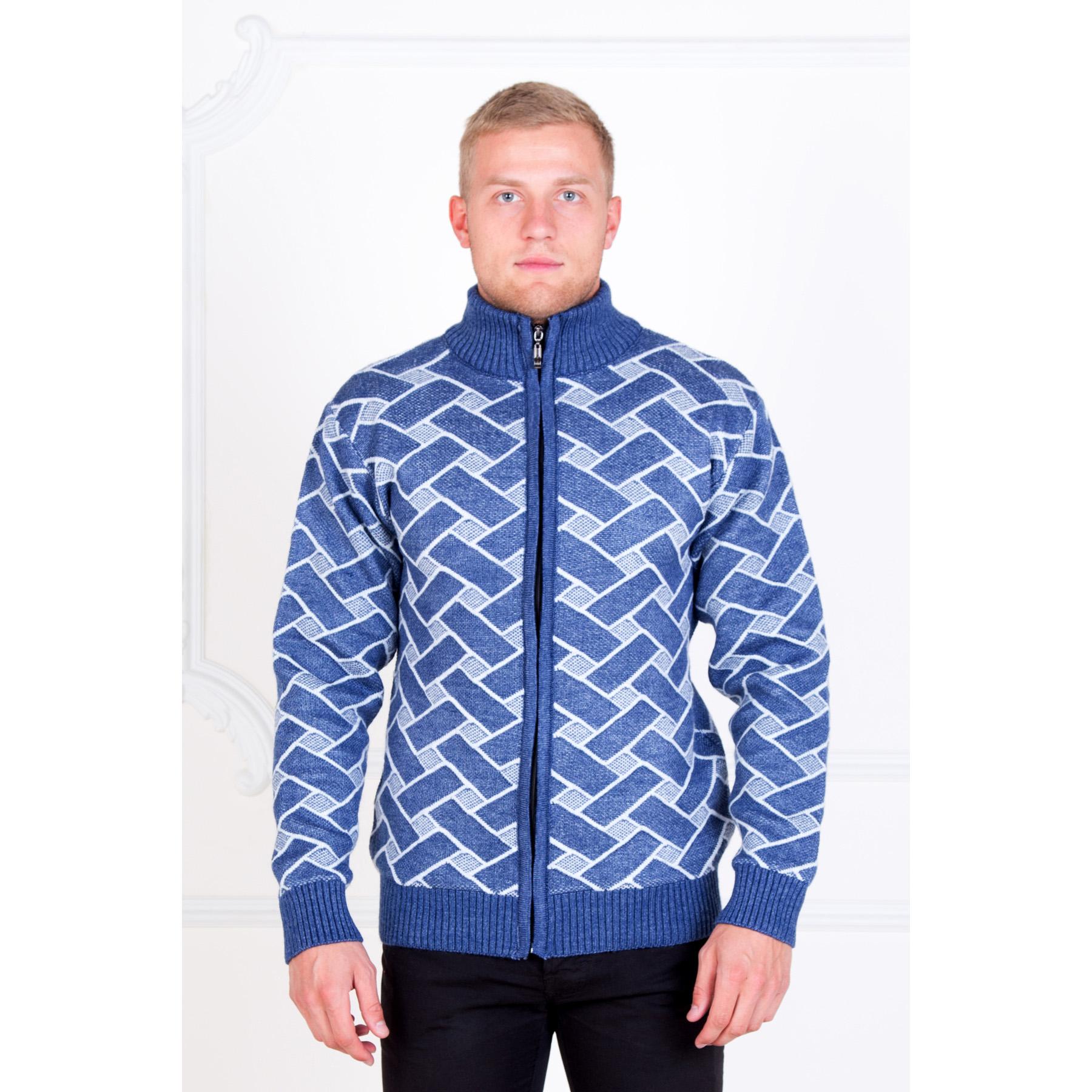 Мужской жакет синий «Оксфорд» , размер 50Толстовки, джемпера и рубашки<br>Обхват груди:100 см<br>Обхват талии:92 см<br>Обхват бедер:106 см<br>Рост:176-182 см<br><br>Тип: Муж. кофта<br>Размер: 50<br>Материал: Овечья шерсть