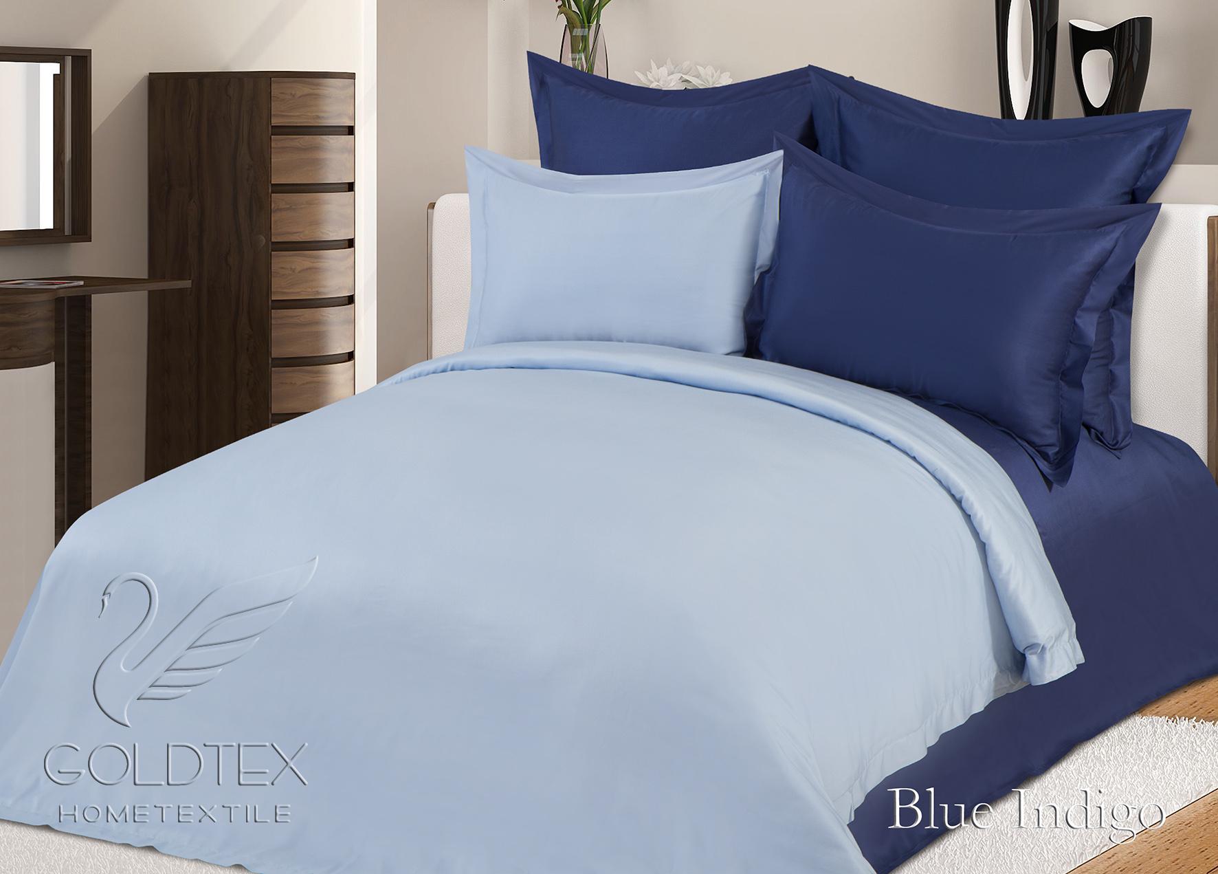 Комплект  Blue Indigo , размер Евро с 4 наволочками - Постельное белье артикул: 10851