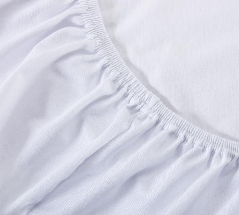 Простыня на резинке Белый, размер 90х200 смПростыни<br>Плотность ткани: 120 г/кв. м <br>Высота матраса: 20 см<br><br>Тип: Простыня на резинке<br>Размер: 90х200<br>Материал: Кулирка