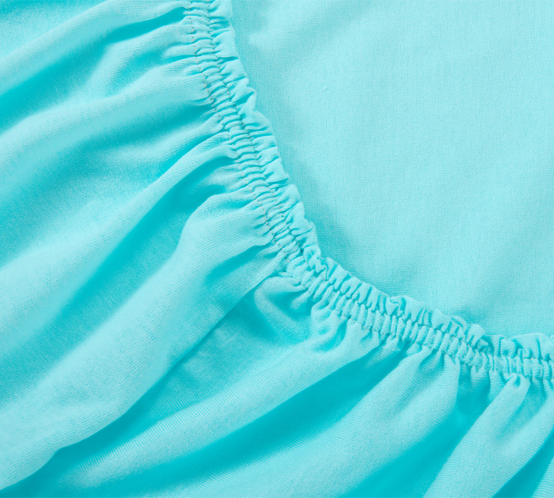 Простыня на резинке Бирюзовый, размер 90х200 смПростыни<br>Плотность ткани: 120 г/кв. м <br>Высота матраса: 20 см<br><br>Тип: Простыня на резинке<br>Размер: 90х200<br>Материал: Кулирка
