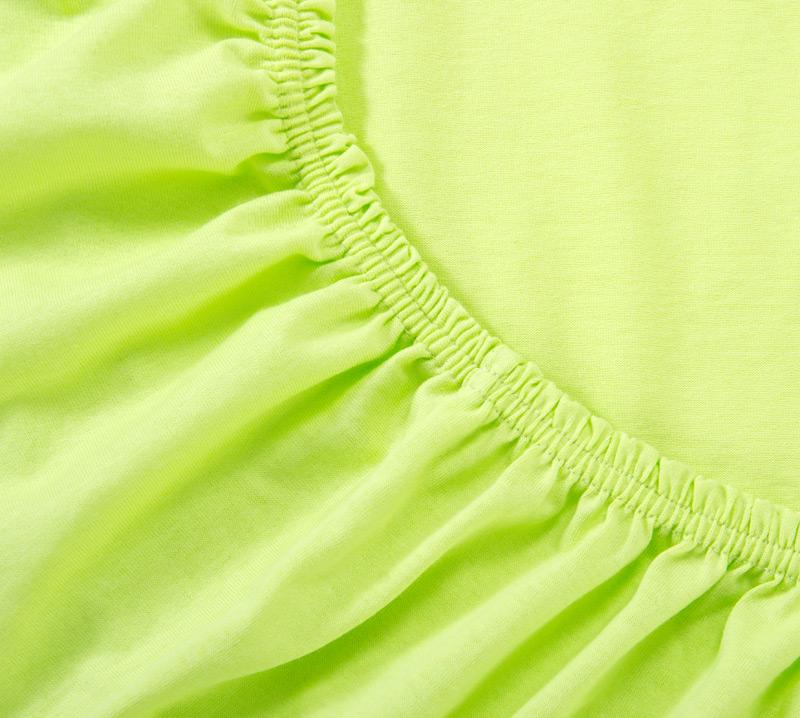 Простыня на резинке Салатовый, размер 90х200 смПростыни<br>Плотность ткани: 120 г/кв. м <br>Высота матраса: 20 см<br><br>Тип: Простыня на резинке<br>Размер: 90х200<br>Материал: Кулирка