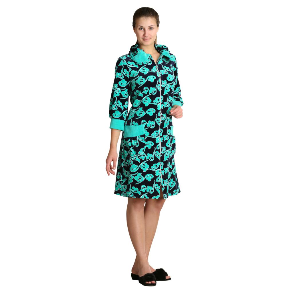 Женский халат «Жаклин» зеленый, размер 46Халаты<br>Обхват груди:92 см<br>Обхват талии:73 см<br>Обхват бедер:100 см<br>Длина по спинке:98 см<br>Рост:164-170 см<br><br>Тип: Жен. халат<br>Размер: 46<br>Материал: Велюр