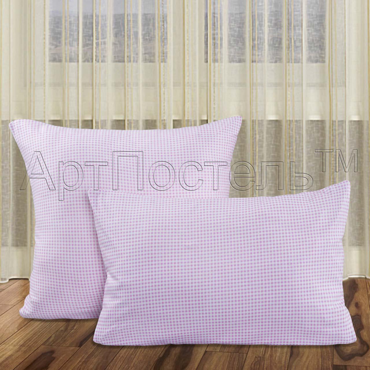Наволочки Трикотажные Клетка Розовый р. 70х70Наволочки<br>Плотность ткани: 140 г/кв. м <br>Количество: 2 шт.<br><br>Тип: Наволочки<br>Размер: 70х70<br>Материал: Кулирка