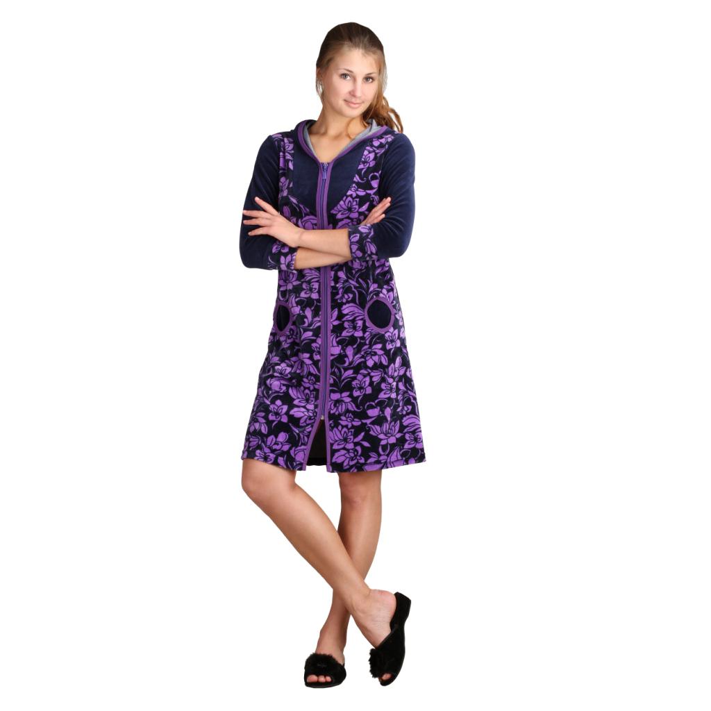 Женский халат Алина Фиолетовый, размер 42Халаты<br>Обхват груди:84 см<br>Обхват талии:65 см<br>Обхват бедер:92 см<br>Длина по спинке:92 см<br>Рост:164-170 см<br><br>Тип: Жен. халат<br>Размер: 42<br>Материал: Велюр