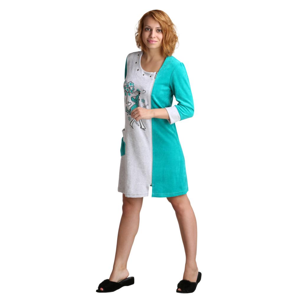 Женский халат Фэшн стайл зеленый, размер 46Халаты<br>Обхват груди:92 см<br>Обхват талии:73 см<br>Обхват бедер:100 см<br>Рост:164-170 см<br><br>Тип: Жен. халат<br>Размер: 46<br>Материал: Велюр