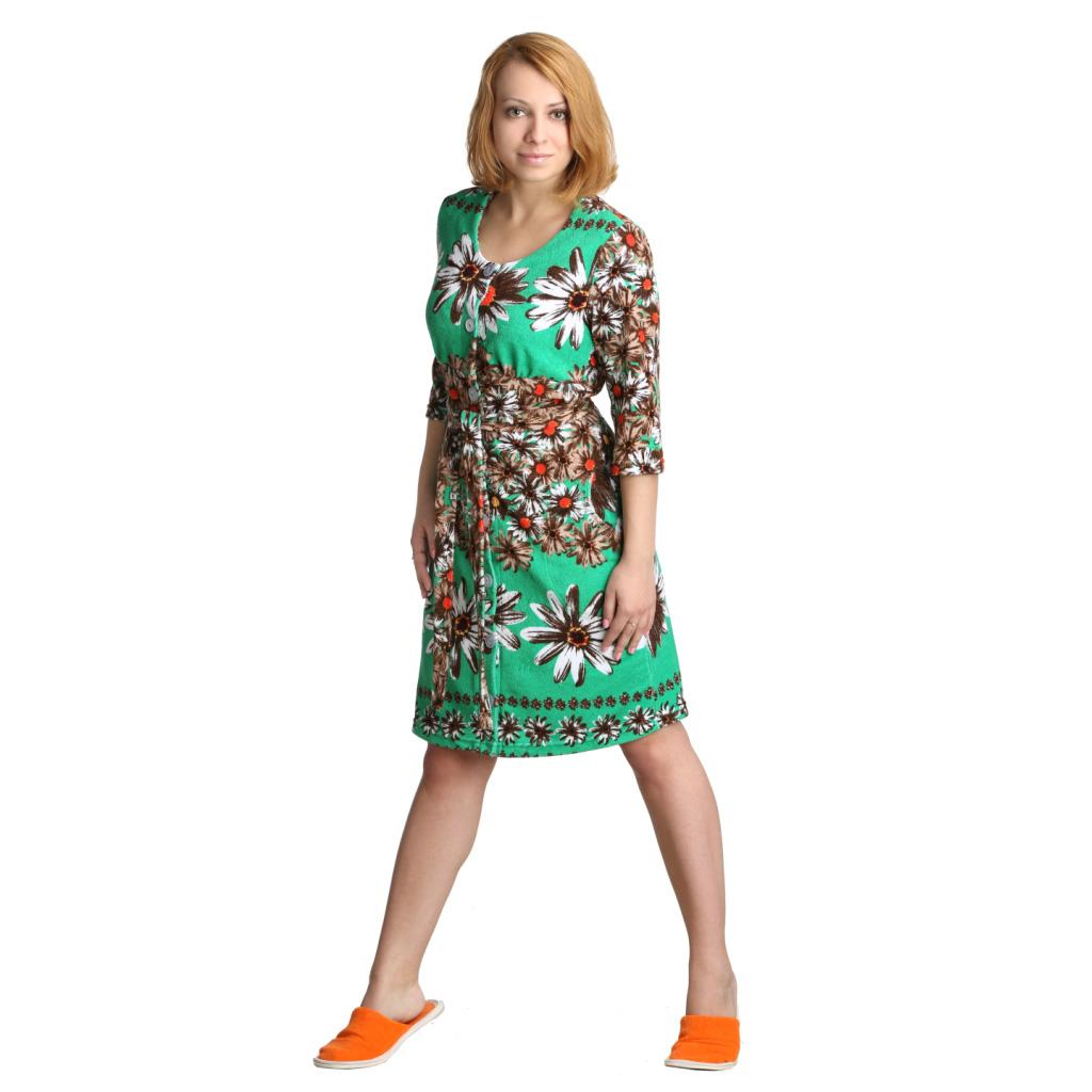 "Женский халат ""Клара"" Зеленый , размер 48 ЕленаТекс"