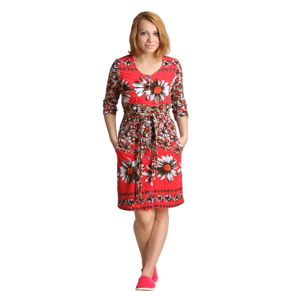 """Женский халат """"Клара"""" Красный, размер 54 ЕленаТекс"""