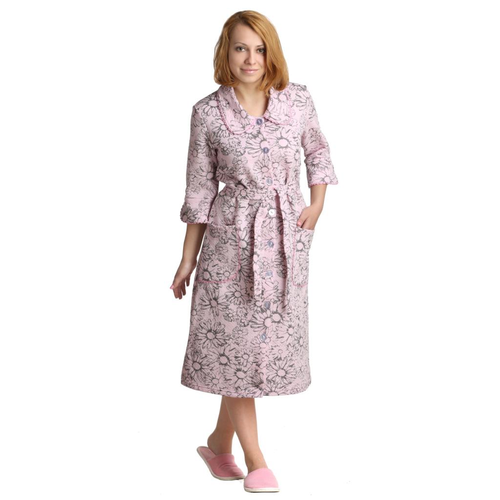 Женский халат «Кейтрин» розовый, размер 54Халаты<br>Обхват груди:108 см<br>Обхват талии:90 см<br>Обхват бедер:116 см<br>Длина по спинке:110 см<br>Рост:164-170 см<br><br>Тип: Жен. халат<br>Размер: 54<br>Материал: Капитоний