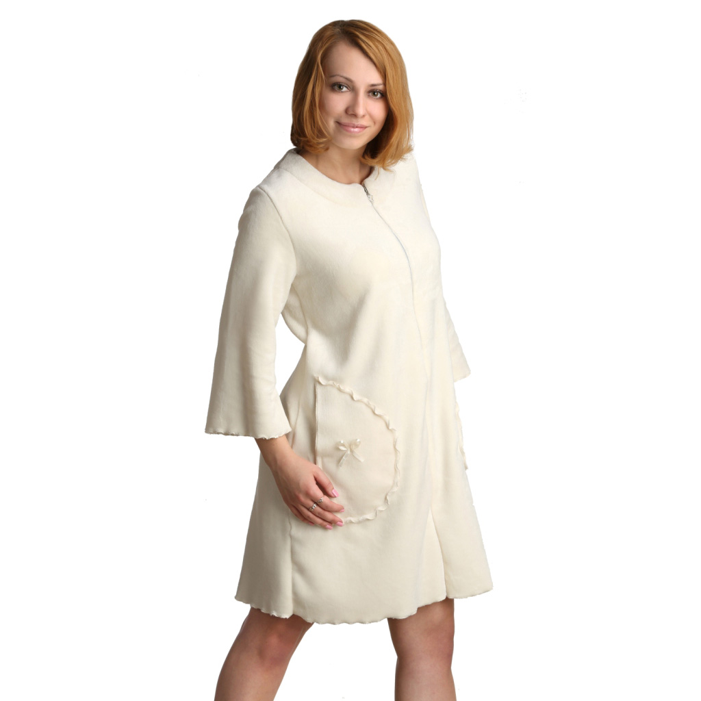 Женский халат Адрианна Молочный, размер 44Халаты<br>Обхват груди: 88 см <br>Обхват талии: 69 см <br>Обхват бедер: 96 см <br>Рост: 164-170 см <br>Длина по спинке: 89 см<br><br>Тип: Жен. халат<br>Размер: 44<br>Материал: Велсофт