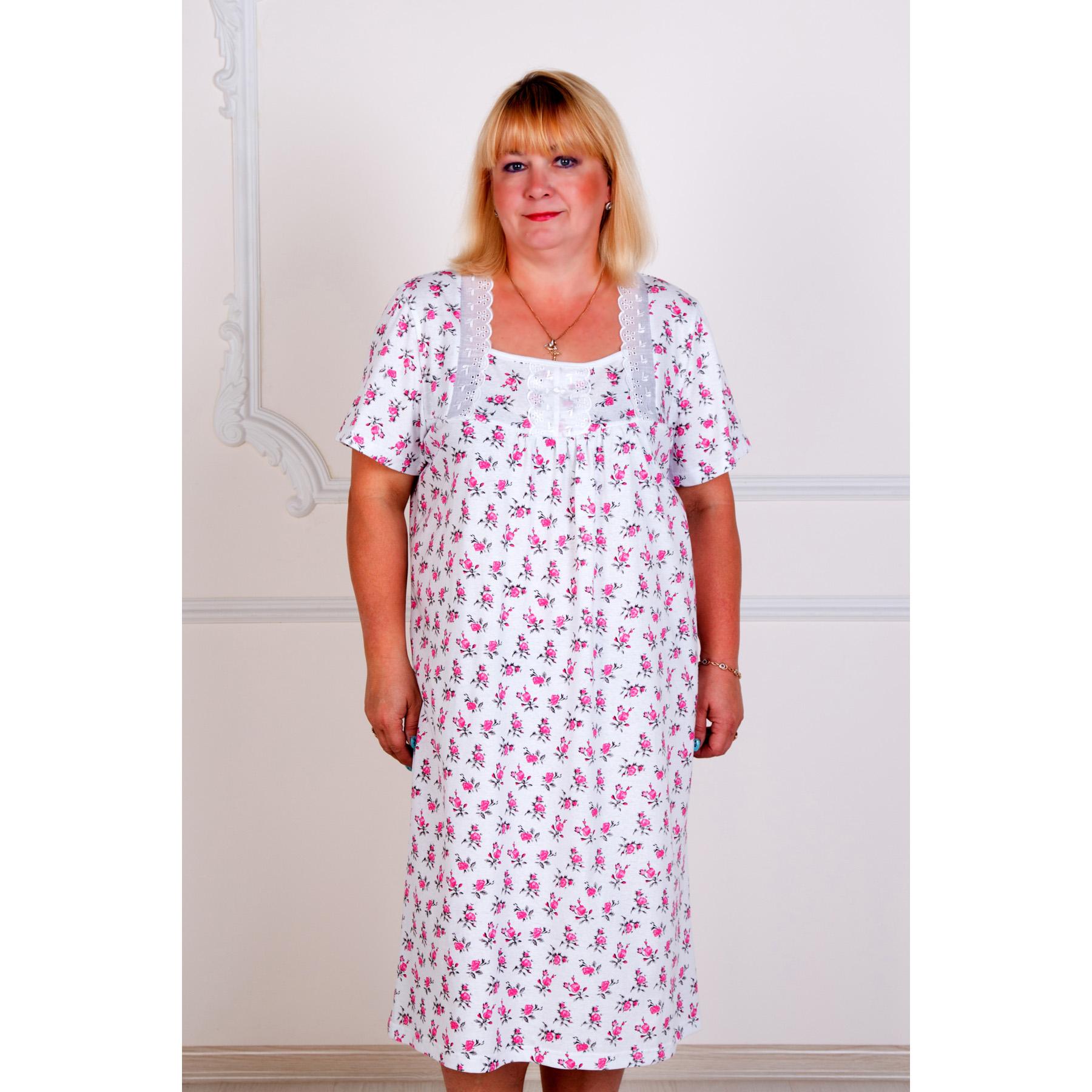 Женская сорочка Маргарита арт. 0083, размер 52Пижамы и ночные сорочки<br>Обхват груди:104 см<br>Обхват талии:85 см<br>Обхват бедер:112 см<br>Рост:167 см<br><br>Тип: Жен. сорочка<br>Размер: 52<br>Материал: Кулирка