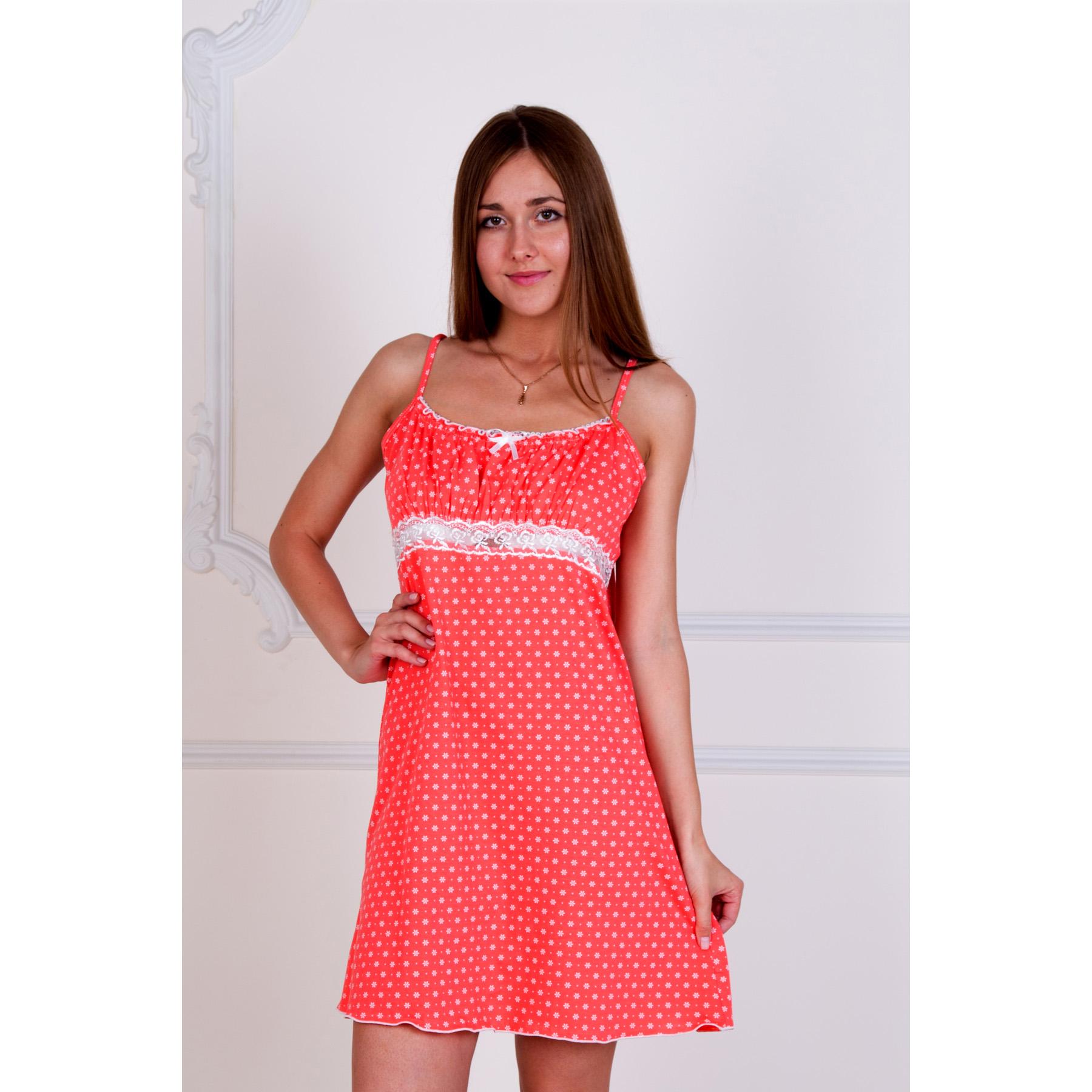 Женская сорочка Неженка Коралловый, размер 46Ночные сорочки<br>Обхват груди:92 см<br>Обхват талии:74 см<br>Обхват бедер:100 см<br>Рост:167 см<br><br>Тип: Жен. сорочка<br>Размер: 46<br>Материал: Кулирка
