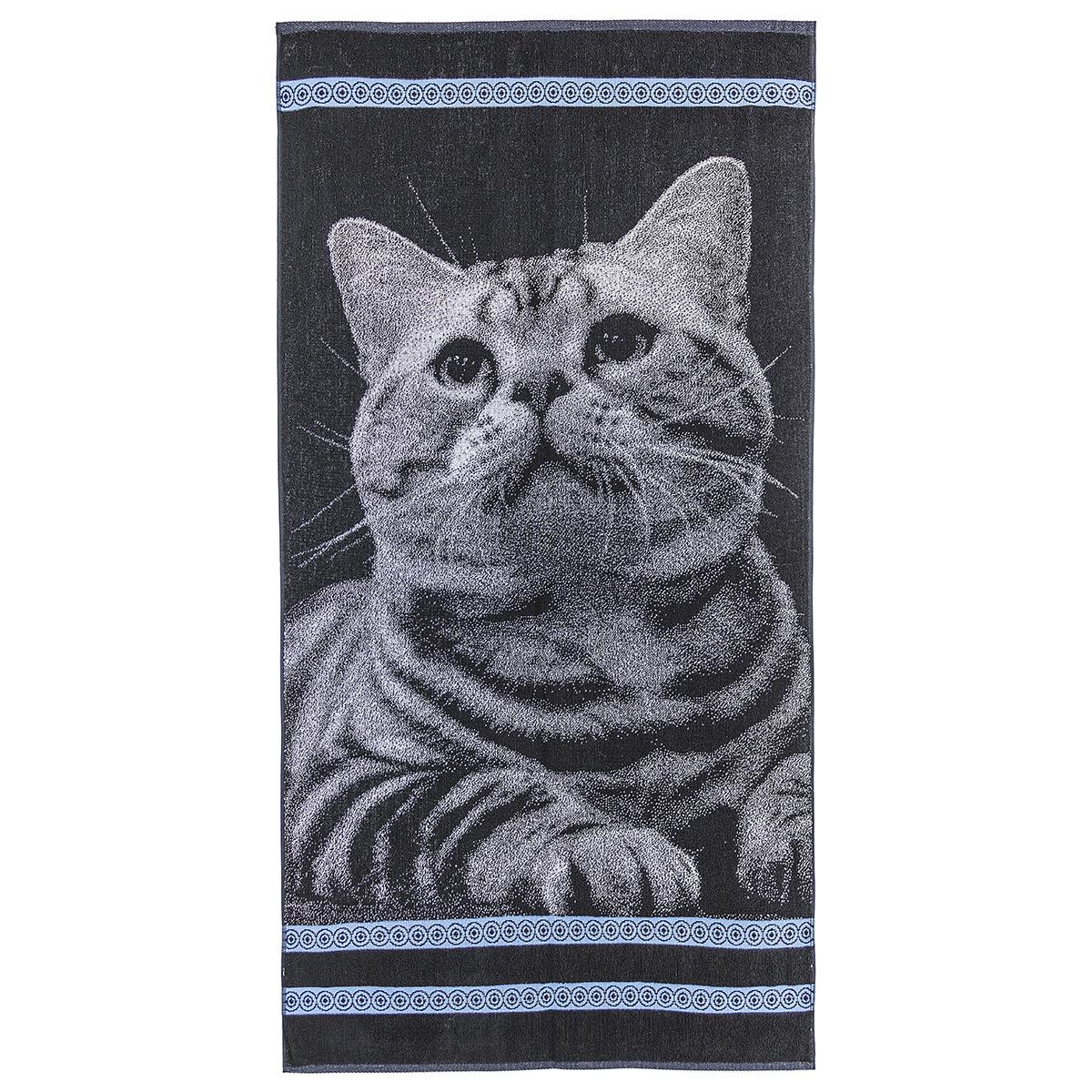 Полотенце Котик, размер 70х140 см.Махровые полотенца<br>Плотность ткани:420 г/кв. м<br><br>Тип: Полотенце<br>Размер: 70х140<br>Материал: Махра