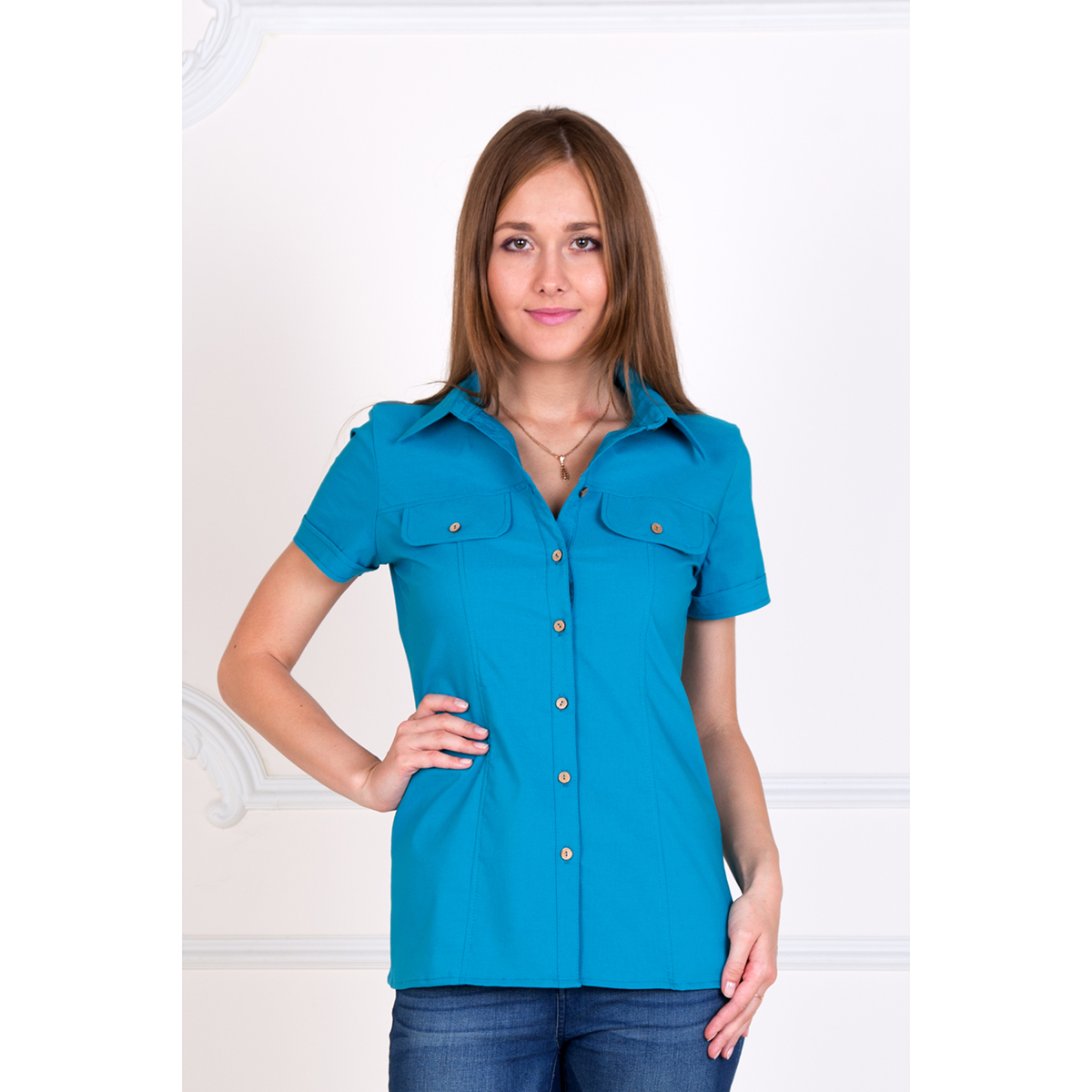Женская рубашка Александра Голубой, размер 40Рубашки<br>Обхват груди:80 см<br>Обхват талии:62 см<br>Обхват бедер:88 см<br>Рост:167 см<br><br>Тип: Жен. рубашка<br>Размер: 40<br>Материал: Хлопок