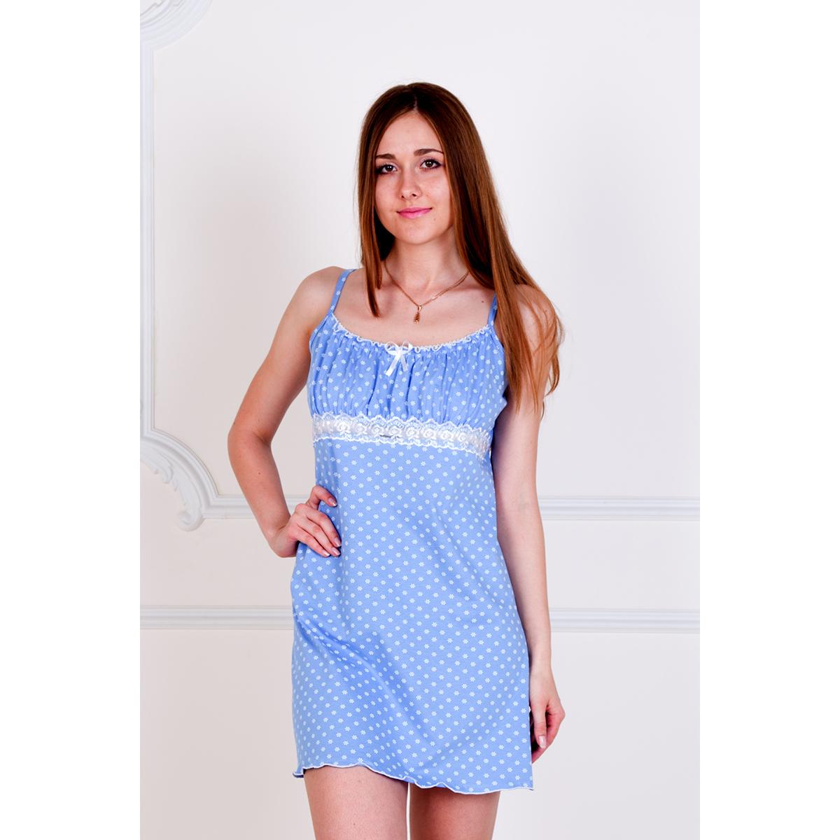 Женская сорочка Неженка Голубой, размер 48Ночные сорочки<br>Обхват груди:96 см<br>Обхват талии:78 см<br>Обхват бедер:104 см<br>Рост:167 см<br><br>Тип: Жен. сорочка<br>Размер: 48<br>Материал: Кулирка