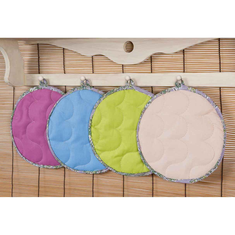 Прихватка Rainbow Круглая, цвет ФуксияКухонные принадлежности<br>Основная ткань:100% хлопок, поплин<br>Плотность ткани:118 г/кв. м<br>Ткань отделки:100% хлопок, бязь<br>Плотность ткани:125 г/кв. м<br>Наполнитель:100% полиэстер<br><br>Тип: Кухонные принадлежности<br>Размер: -<br>Материал: Поплин