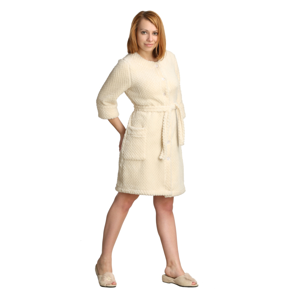 Женский халат Лили Кремовый, размер 54Халаты<br>Обхват груди:108 см<br>Обхват талии:90 см<br>Обхват бедер:116 см<br>Длина по спинке:100 см<br>Рост:164-170 см<br><br>Тип: Жен. халат<br>Размер: 54<br>Материал: Ультрасофт