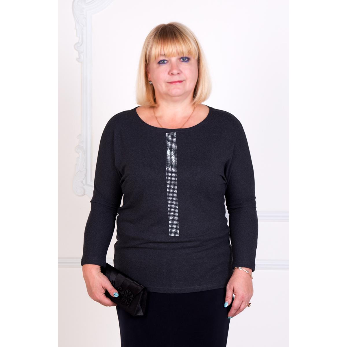 Женская блуза Симфония Антрацитовый, размер 44Блузы<br>Обхват груди: 88 см <br>Обхват талии: 68 см <br>Обхват бедер: 96 см <br>Рост: 167 см<br><br>Тип: Жен. блуза<br>Размер: 44<br>Материал: Хамур