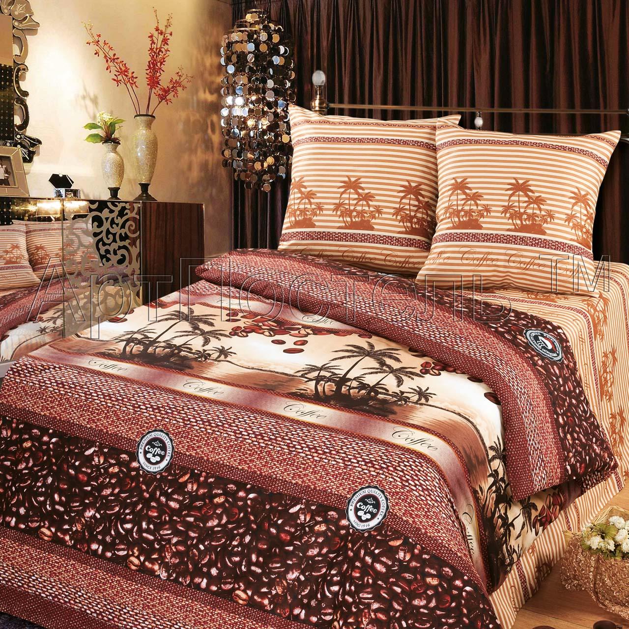 КПБ Зима-Лето  Кофе , размер 2,0-спальный с европростыней - Постельное белье артикул: 9001