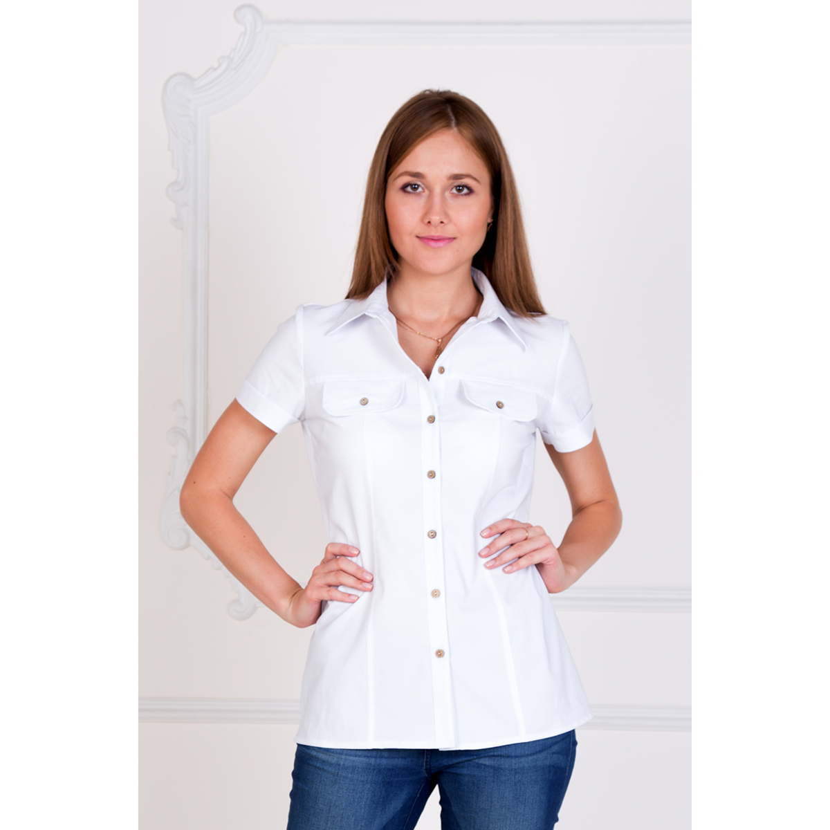 Женская рубашка Александра Белый, размер 40Блузки, майки, кофты<br>Обхват груди:80 см<br>Обхват талии:62 см<br>Обхват бедер:88 см<br>Рост:167 см<br><br>Тип: Жен. рубашка<br>Размер: 40<br>Материал: Хлопок