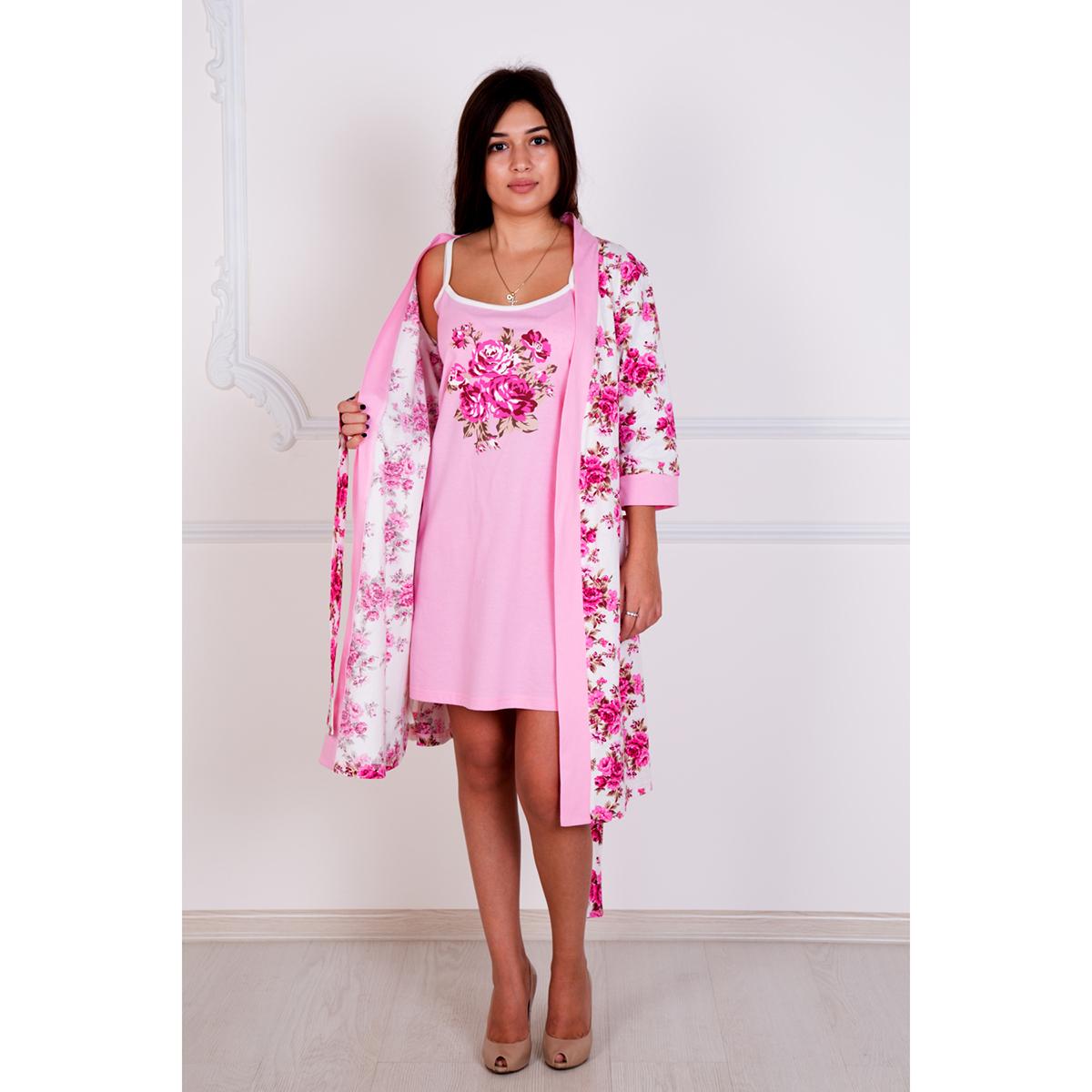 Женский комплект Роза, размер 46Пижамы и ночные сорочки<br>Обхват груди:92 см<br>Обхват талии:74 см<br>Обхват бедер:100 см<br>Рост:167 см<br><br>Тип: Жен. сорочка<br>Размер: 46<br>Материал: Кулирка