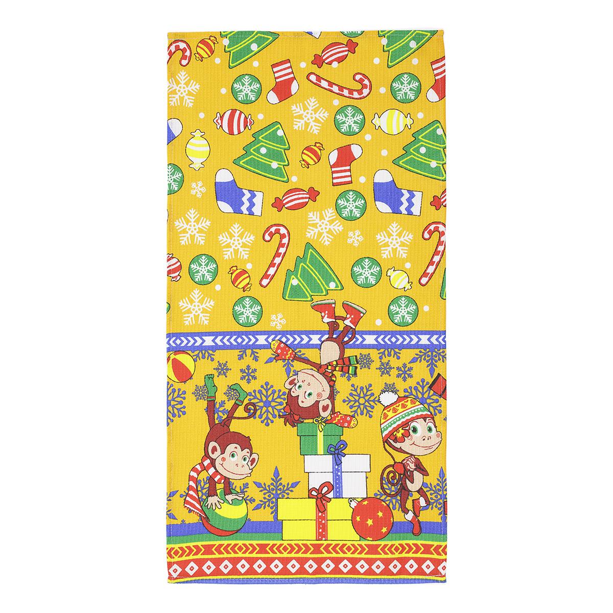Вафельное полотенце Веселые обезьянки , размер 35х70 смВафельные полотенца<br><br><br>Тип: Вафельное полотенце<br>Размер: 35х70<br>Материал: Вафельное полотно