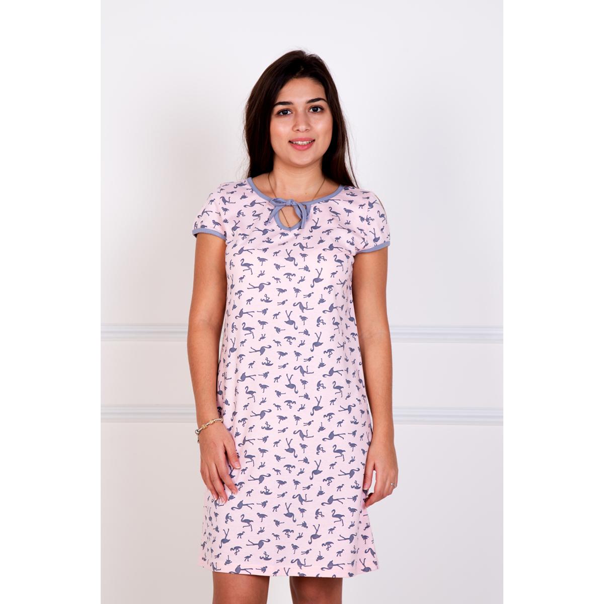 Женская сорочка Фламинго, размер 48Ночные сорочки<br>Обхват груди:96 см<br>Обхват талии:78 см<br>Обхват бедер:104 см<br>Рост:167 см<br><br>Тип: Жен. сорочка<br>Размер: 48<br>Материал: Кулирка