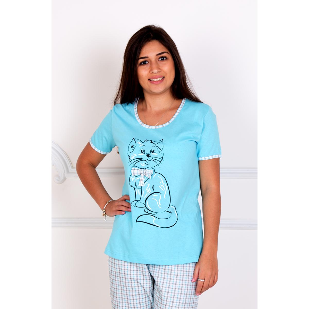 Женский пижама Киска Бирюзовый, размер 52Пижамы<br>Обхват груди:104 см<br>Обхват талии:85 см<br>Обхват бедер:112 см<br>Рост:167 см<br><br>Тип: Жен. костюм<br>Размер: 52<br>Материал: Кулирка