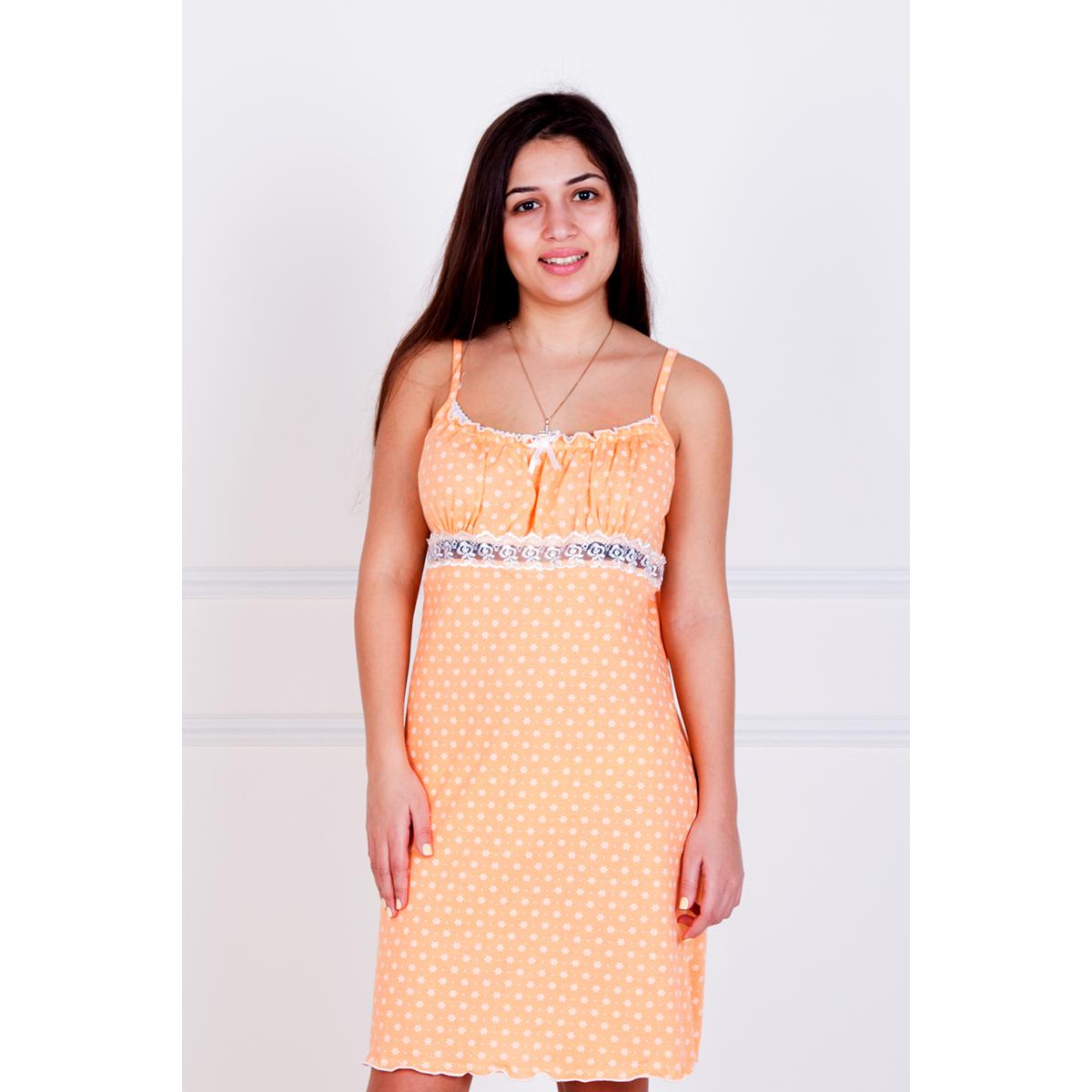 Женская сорочка Неженка Персиковый, размер 52Ночные сорочки<br>Обхват груди:104 см<br>Обхват талии:85 см<br>Обхват бедер:112 см<br>Рост:167 см<br><br>Тип: Жен. сорочка<br>Размер: 52<br>Материал: Кулирка