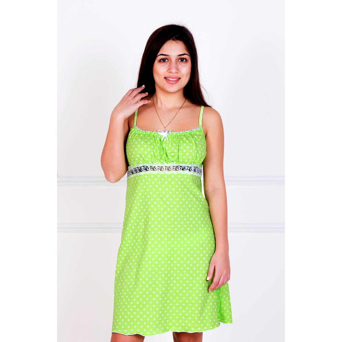 Женская сорочка Неженка Салатовый, размер 50Ночные сорочки<br>Обхват груди:100 см<br>Обхват талии:82 см<br>Обхват бедер:108 см<br>Рост:167 см<br><br>Тип: Жен. сорочка<br>Размер: 50<br>Материал: Кулирка