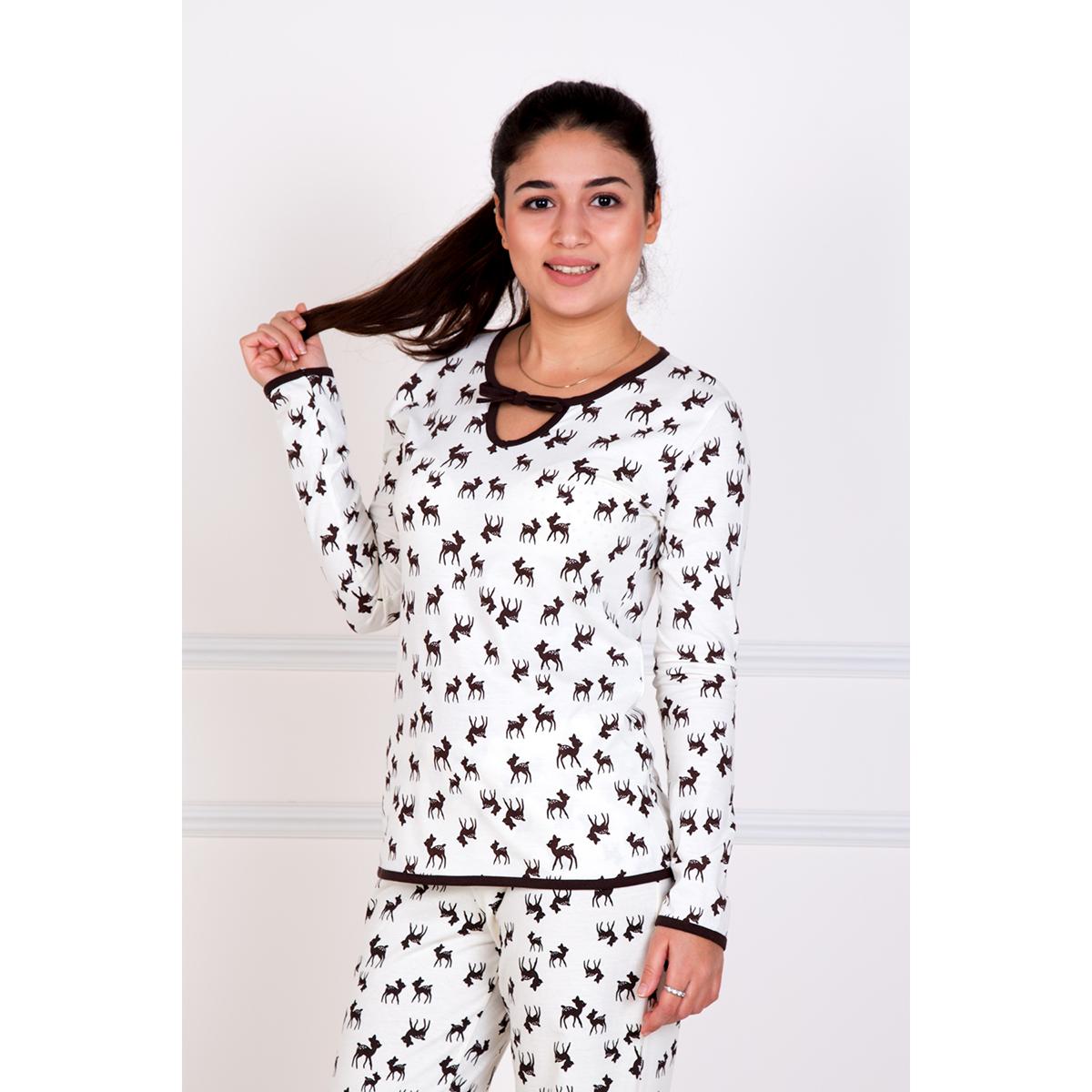 Женская пижама Олененок, размер 50Пижамы<br>Обхват груди:100 см<br>Обхват талии:82 см<br>Обхват бедер:108 см<br>Рост:167 см<br><br>Тип: Жен. костюм<br>Размер: 50<br>Материал: Кулирка