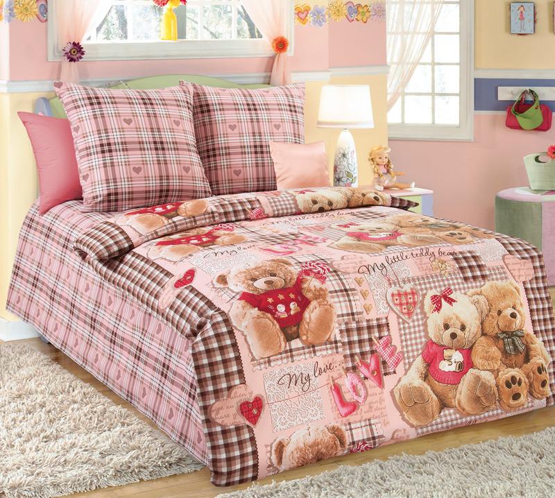 Детский комплект  Плюшевые мишки  Розовый, размер 1,5 сп. - Постельное белье артикул: 7790