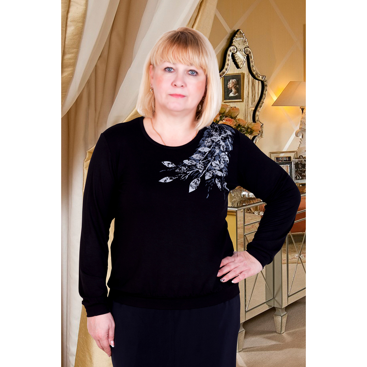 Женская блуза Лира Черный, размер 54Блузки, майки, кофты<br>Обхват груди:108 см<br>Обхват талии:88 см<br>Обхват бедер:116 см<br>Рост:167 см<br><br>Тип: Жен. блуза<br>Размер: 54<br>Материал: Вискоза