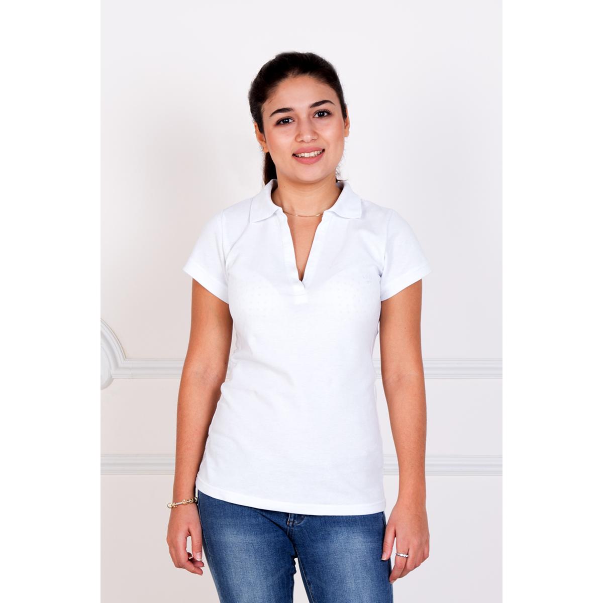 Женская футболка-поло Шерт Белый, размер 48Блузки, майки, кофты<br>Обхват груди:96 см<br>Обхват талии:78 см<br>Обхват бедер:104 см<br>Рост:167 см<br><br>Тип: Жен. футболка<br>Размер: 48<br>Материал: Пике