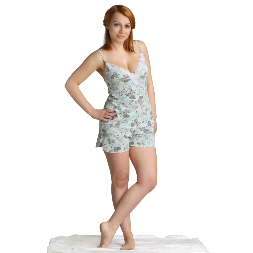 Женская пижама Льюл, размер 42Пижамы<br>Обхват груди: 84 см <br>Обхват талии: 65 см <br>Обхват бедер: 92 см <br>Рост: 164-170 см<br><br>Тип: Жен. костюм<br>Размер: 42<br>Материал: Вискоза